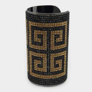 Greek Wide Pattern Rhinestone Pave Cuff Bracelet